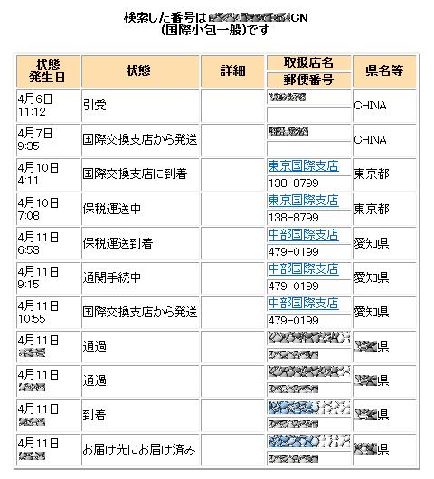 郵便 追跡 日本 チャイナ ポスト